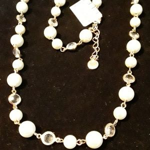 Charter Club, Gold White Pearl Long Necklace
